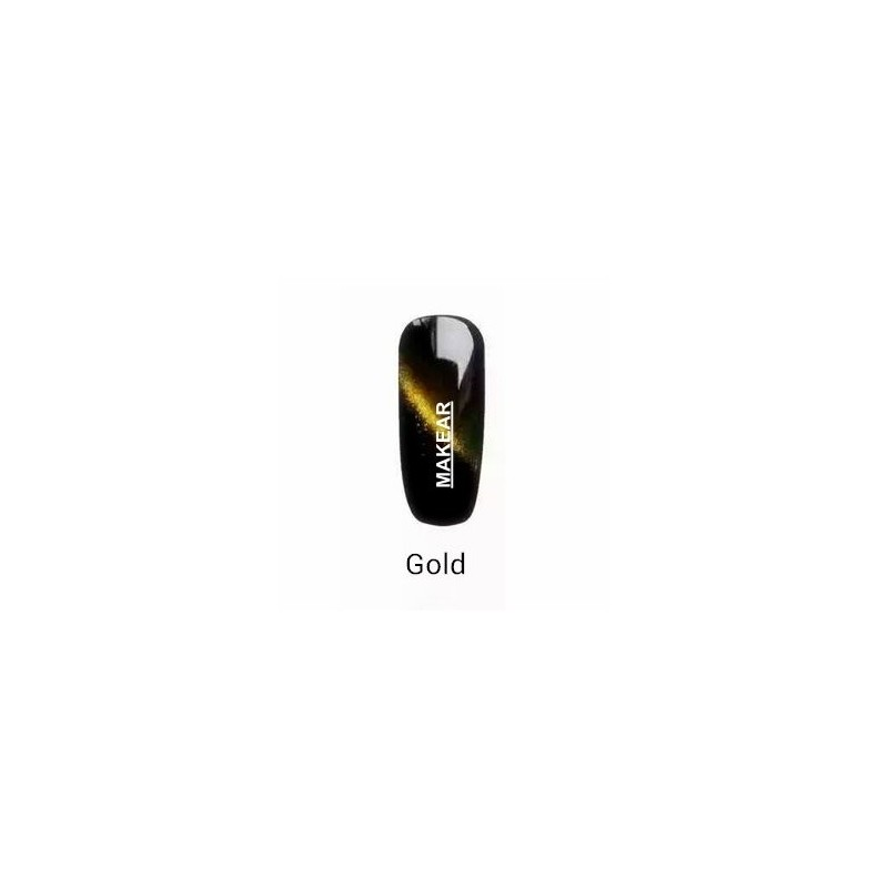 TOP Lakier hybrydowy MAKEAR - złoty Gold Cat Eye MAKEAR